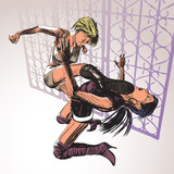 Two Girls Fight.Comic Art