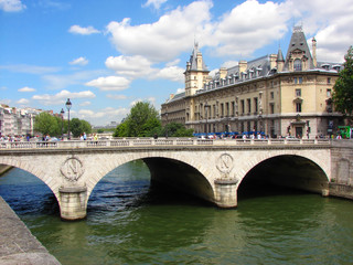 landscape a city Paris with river Seine and bridge Saint Michel