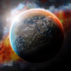 Planet Earth and nebula