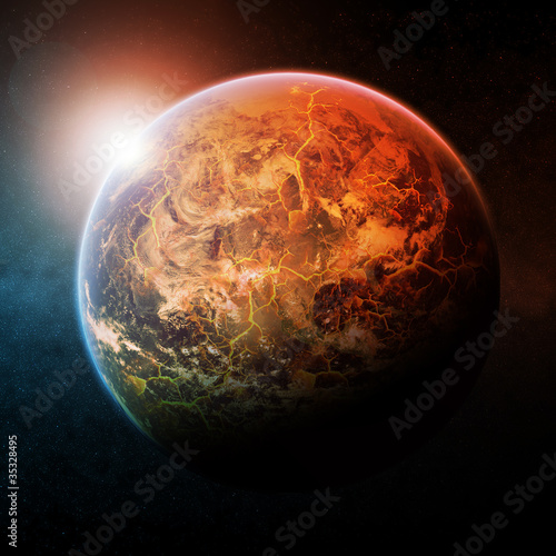 Planet Earth half burning - 35328495