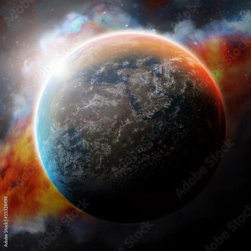 Planet Earth and nebula - 35328498