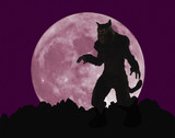 Fototapety A Werewolf Stands Menacingly Before a Full Moon