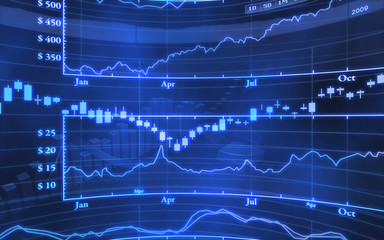 Blue abstract stock market graph