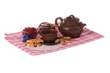 Teapot_cup of tea_biscuits_jam