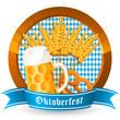 Oktoberfest-Logo mit bayerischen Landesfarben