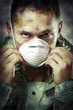 Portrait of Sad man in breathing mask