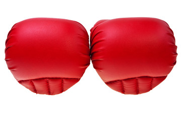 Red karate boxing gloves isolated over white background.