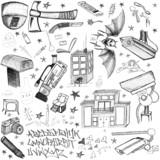 Random doodle axe cctv camera drawings tv weapons drugs gun poster