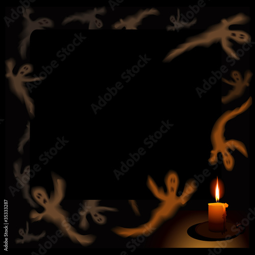 vector dark background with  flying ghosts