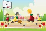 Fototapety Kids playing basketball