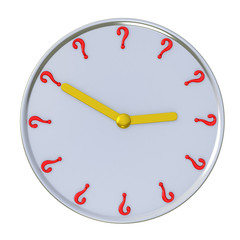 Time concept - wall clock with question marks 3d