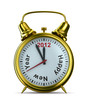 2012 year on alarm clock. Isolated 3D image