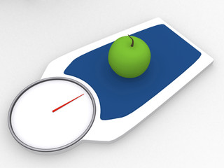 3d apple on a weight scale