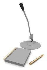 Notebook, microphone and pen isolated on a white background