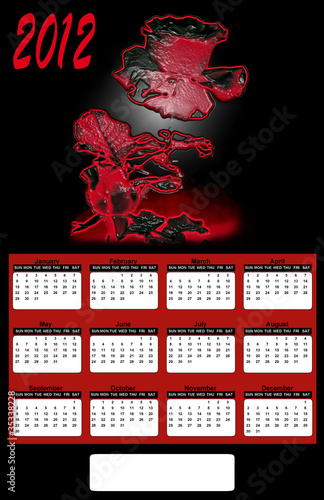 2012 Neon Red Rose on Black Background Calendar