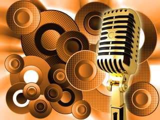 Vintage microphone on abstract background
