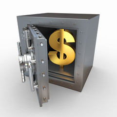 Dollar sign in vault. 3d