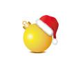 Gelbe Weihnachtskugel mit Weihnachtsmütze