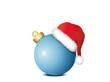 Blaue Weihnachtskugel mit Weihnachtsmütze