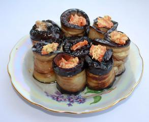 Dish - roasted eggplant rolls.