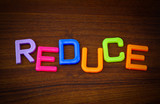 Reduce in colorful toy letters on wood background poster