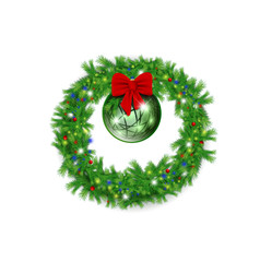 Christmas wreath with red bow and bright ball