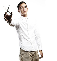 young man with scissors