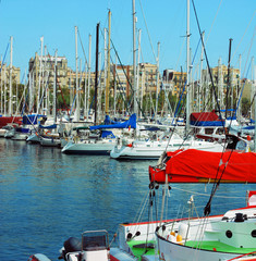 mooring and parking for yachts in port of Barcelona, Port Vell,