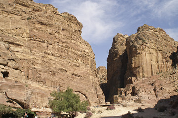 Canyon Siq. The Monastery Petra in Jordan
