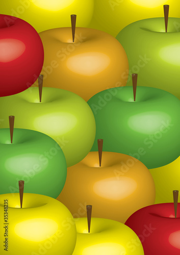 3D illustration with color apples