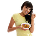 Nutrition woman eating healthy breakfast