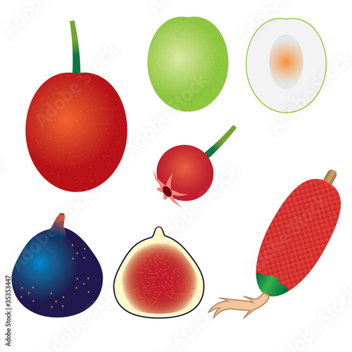 Set of exotic fruits.