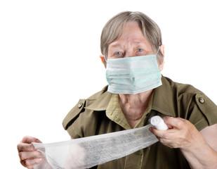 Senior woman wearing protective mask