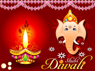 abstract diwali concept with ganesh