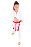 Young woman in karate outfit