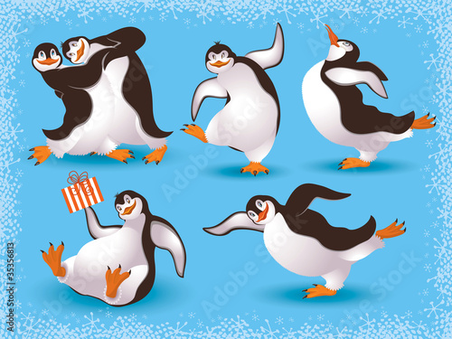 Funny dancing penguins