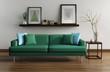 Modern interior, green sofa, frames table on wood floor