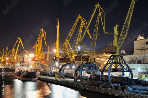night view of the industrial port and ship