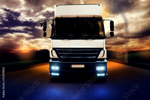 Truck at Night on Country Road