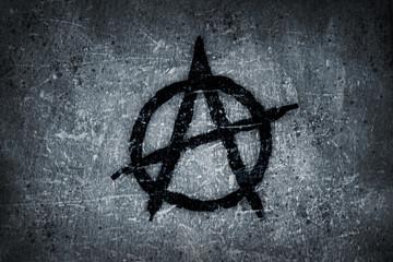 anarchy symbol on wall