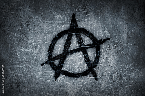 anarchy symbol on wall
