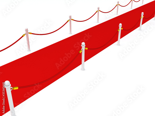 Red carpet with rope barriers on white background