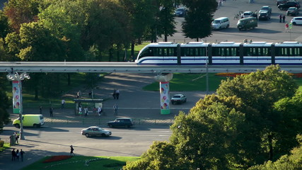 Monorail at the VDNKH in Moscow. Russia.