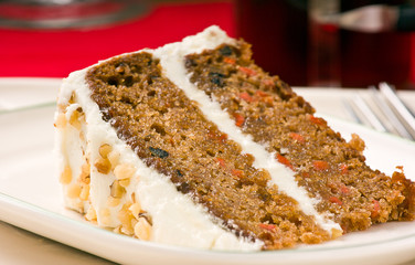 Walnut carrot cake on a plate