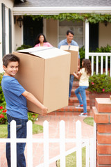 Family moving into rented house