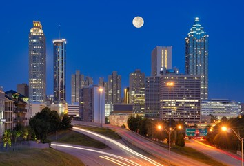 Atlanta Skyline under Full Moon
