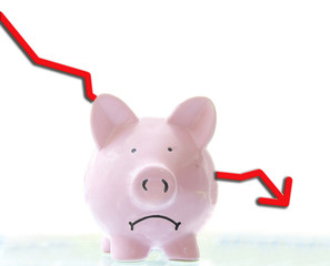 frowning pink piggy bank with down arrow, on white