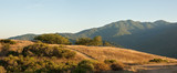 Panorama of a typical Central California sunset over meadow