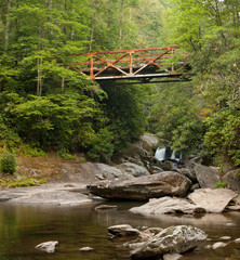 Old Iron Bridge in Appalachians, over Chattooga River