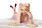 Young woman in lolita costume cosplay isloated poster
